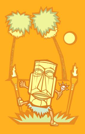Retro stijl medicijnman met Tiki-masker en schedel toverstaf.