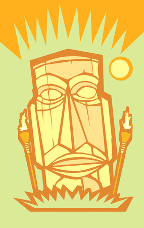Tiki rétro dans un paramètre de le île avec les dimensions des affiches.