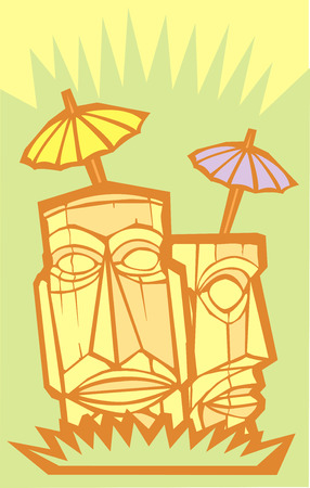 Retro tiki in an island setting with poster dimensions.