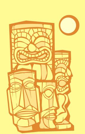 tiki bar: Group of Tikis Illustration