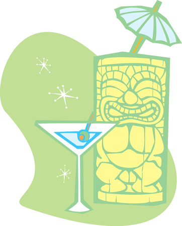 Retro styled Tiki thinks about having a martini.