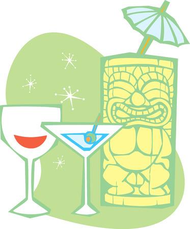 Retro stijl Tiki, een dry martini en glas wijn