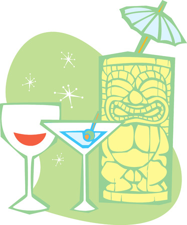 Retro styled Tiki, a dry martini and glass of wine Stock Vector - 5448171