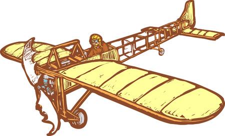 Inizio del XX secolo aeroplano Bleriot in volo.  Archivio Fotografico - 5472856