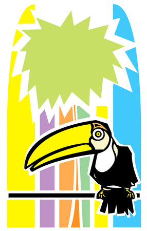 roost: Tropical toucan bird with stylized palm tree in background.