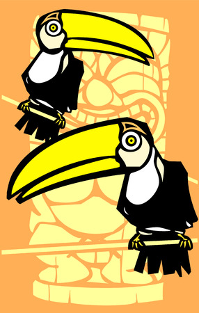 roost: Tropical toucan birds with retro tiki in background.