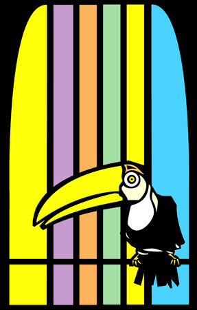 Tropical toucan bird with stripes in background. Stock Vector - 5472858