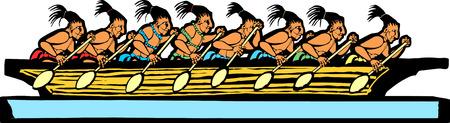 Mayan canoe done in temple mural style. Çizim