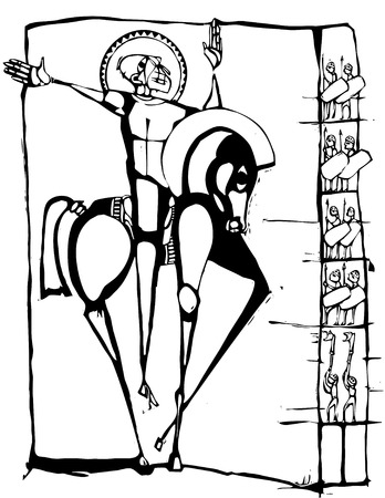 Woodcut에는 말에 십자군의 이미지 양식에 일치시키는.