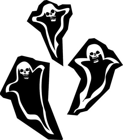 phantom: Three Halloween phantom ghosts with skull heads.