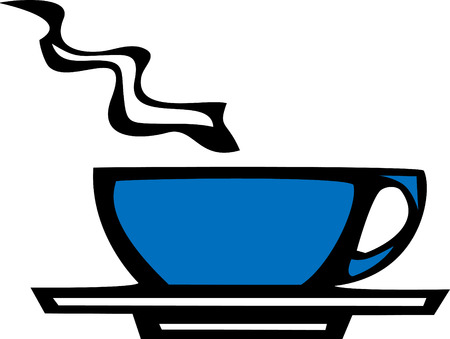 vectored: smooth vectored blue coffee or espresso cup.