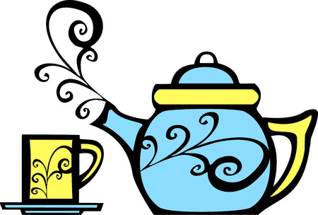 retro 70s image of a psychedelic teapot and matching mug. Reklamní fotografie - 5523443