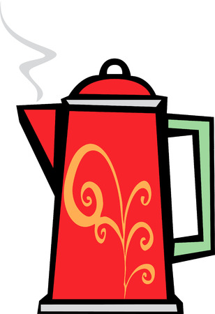 retro 70s image of a psychedelic coffee pot in red.