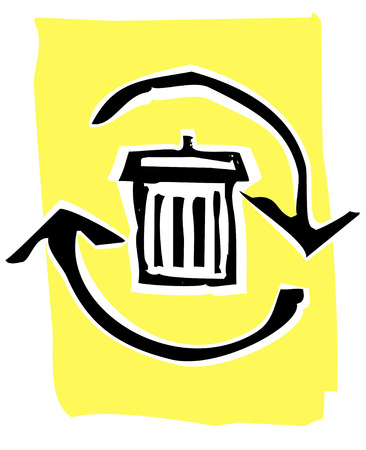 Trashcan in a circle of recycle or refresh arrows. Stock Vector - 5523451
