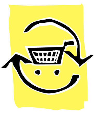 Shopping Cart in a circle of recycle or refresh arrows. Illustration