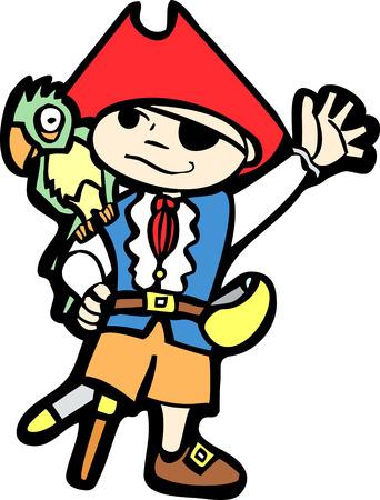 Boy in a pirate costume with peg leg and parrot. Illusztráció