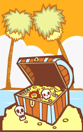 Pirate Treasure chest on a south sea's island. Stock Vector - 5550619
