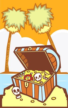 Schat kist op een zuidelijke zee eiland van de piraat.  Stock Illustratie