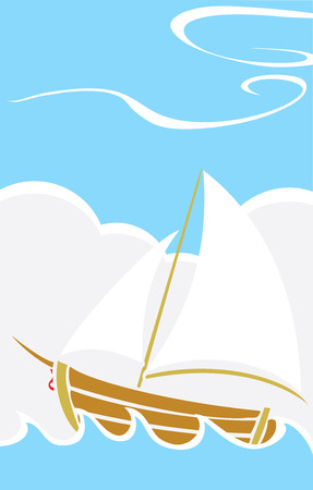 Simple childrens boat design sailing on waves at sea.