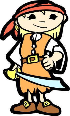 cutlass: Muchacha en traje de pirata con un machete.