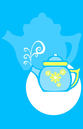 Seventies style retro image of a tea pot with flowers.  Ilustrace