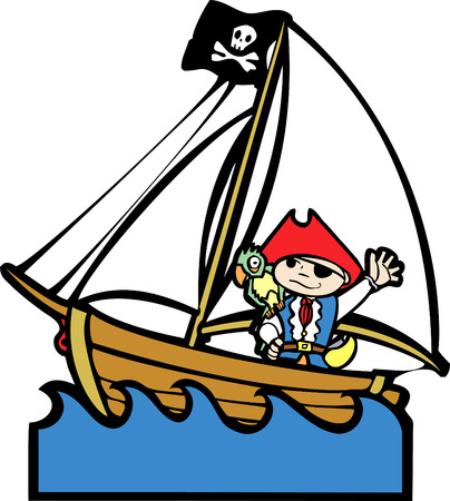 Simple childrens boat image with boy in pirate costume. Vector