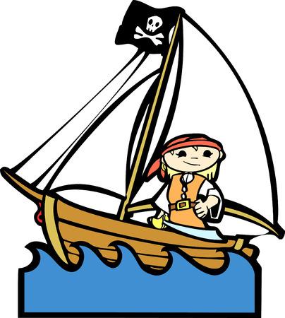 Eenvoudige kinder boot image met meisje in piraat kostuum.