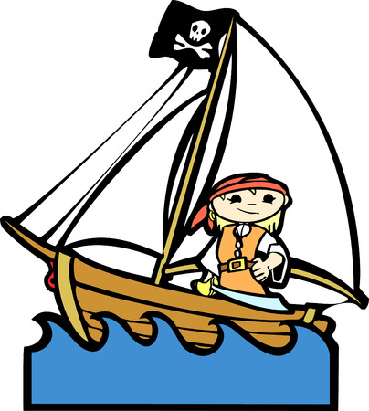 Simple children's boat image with girl in pirate costume. Illustration