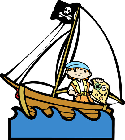 Simple children's boat image with boy in pirate costume. Illustration