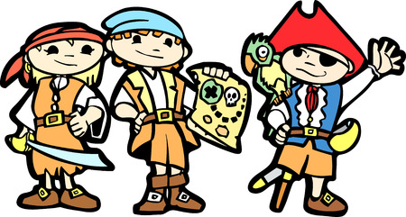 Children dress in pirate costumes with swords, parrots and maps. Vector