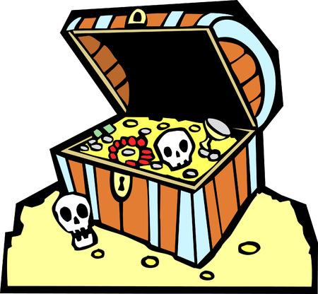 황금 동전과 두개골과 해적 보물 상자. 일러스트