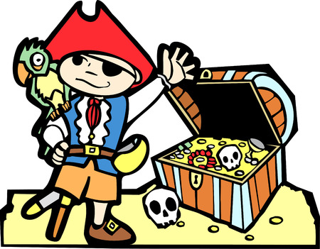 Pirate treasure chest with gold coins, skulls  and boy in pirate costume. Vector