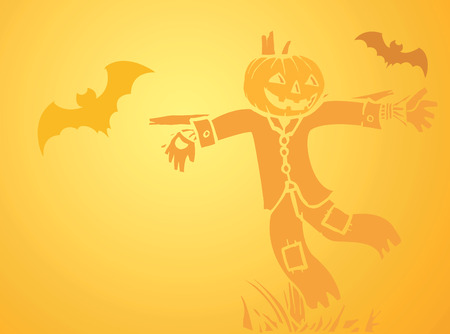 softly: Softly orange colored desktop background, halloween themed with bats and a scarecrow.