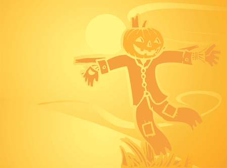 Softly orange colored desktop background, halloween themed with a scarecrow. Vector