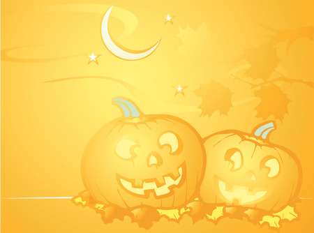 softly: Softly orange colored desktop background, halloween themed with pumpkins.