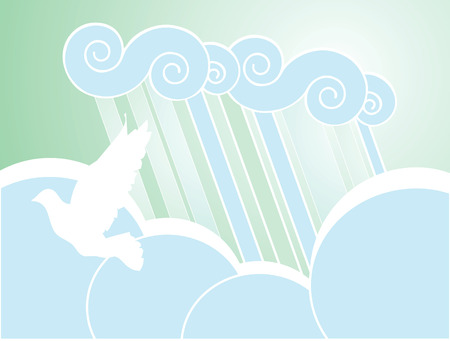 Softly colored desktop background of rain, clouds and dove. Иллюстрация