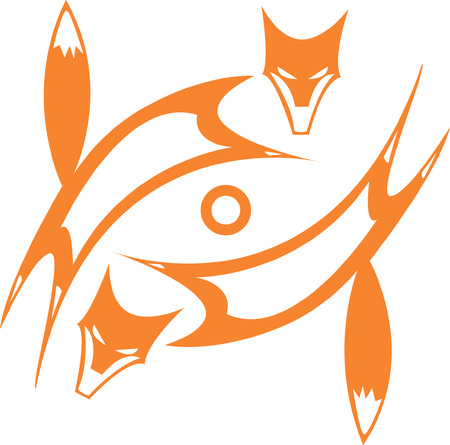 tlingit: two spinning foxes giving the impression of an eye. Illustration