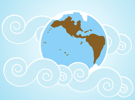 Blue earth background with asian style clouds.