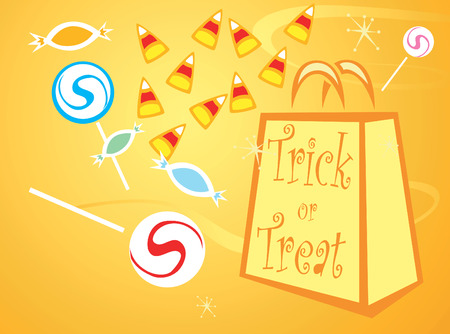 Halloween trick or treat bag with different candies. Ilustracja