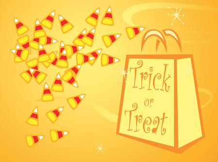 Halloween Trick or Treat bag with pile of candy corn. Vector