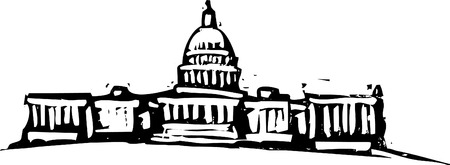 Black and White woodcut style illustration of the Washington DC Capital building.