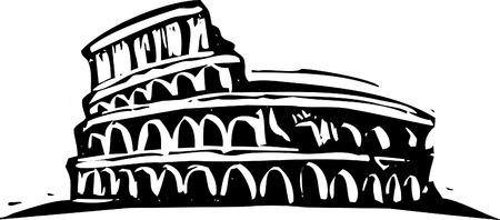 Black and White woodcut style illustration of the Roman Coliseum. Illustration