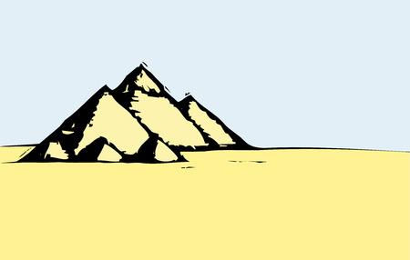 木版画、エジプトのピラミッドのスタイル イメージ。  イラスト・ベクター素材