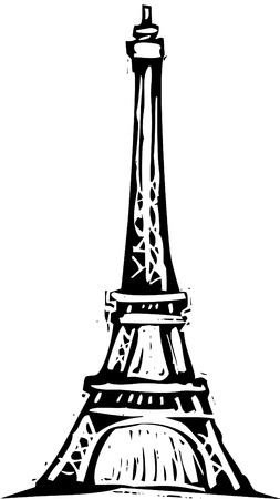 Black and White woodcut style illustration of the Eiffel Tower. Ilustração