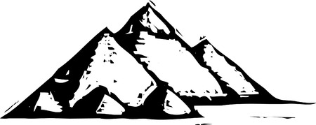 Black and White woodcut style illustration of the egyptian pyramids.