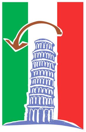 bandiera italiana: Torre di Pisa e di bandiera italiana Vettoriali