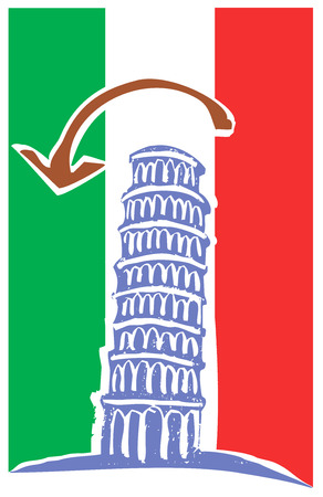 Tower of Pisa and Italian Flag Çizim