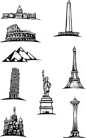 Black and White woodcut style illustration spots of great world buildings. Çizim