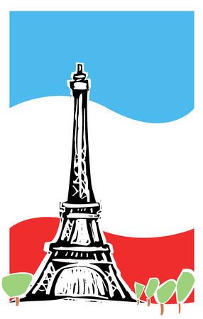 french flag: Eiffel tower in Paris France with spring trees and french flag. Illustration