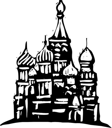 red square moscow: Black and White woodcut style illustration of the Kremlin in Moscow. Illustration
